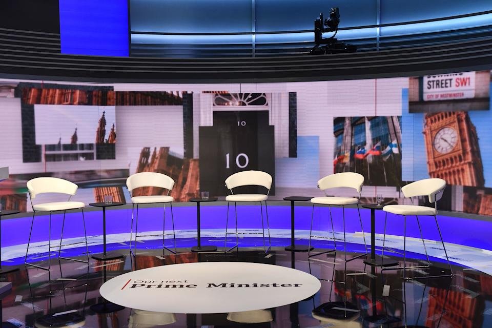 The BBC shared a picture of the London studio where the debate featuring the contestants for the leadership of the Conservative Party will take place later today. (PA Images)
