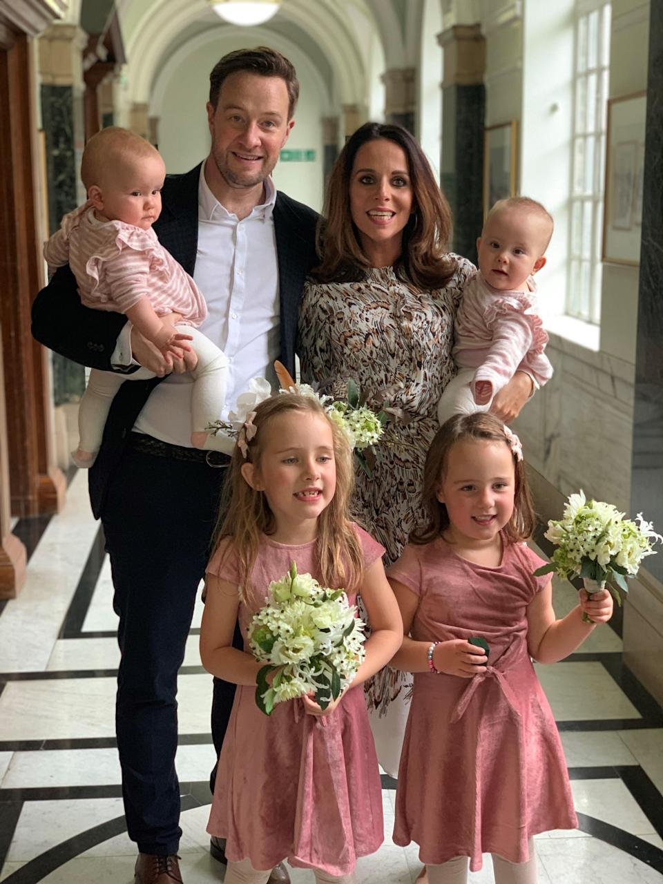 Mariam and Billy with their daughters at their wedding in 2019 (Family handout/PA)