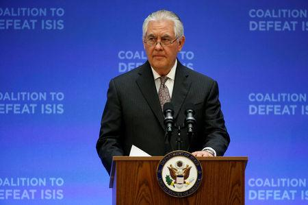 U.S. Secretary of State Rex Tillerson delivers remarks at the morning ministerial plenary for the Global Coalition working to Defeat ISIS at the State Department in Washington