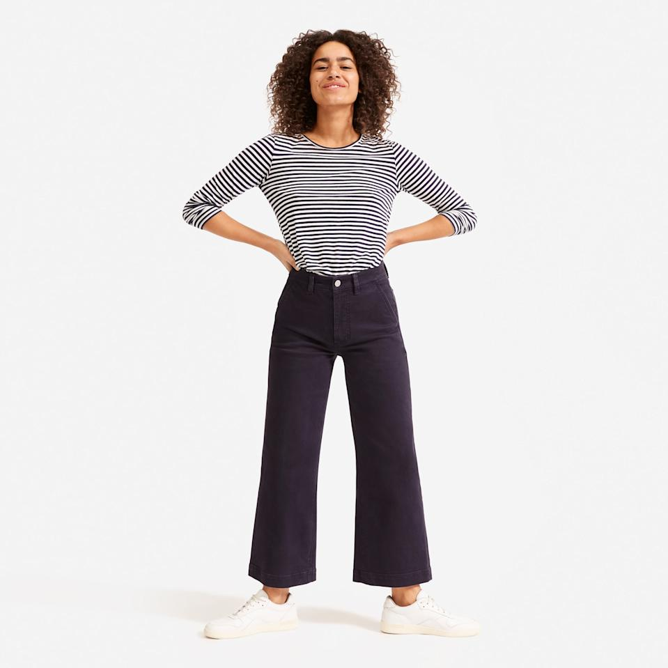 Save 30% on The Wide Leg Crop Pant. Image via Everlane.