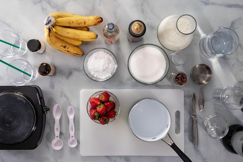 Ingredients for banana Frappuccino.