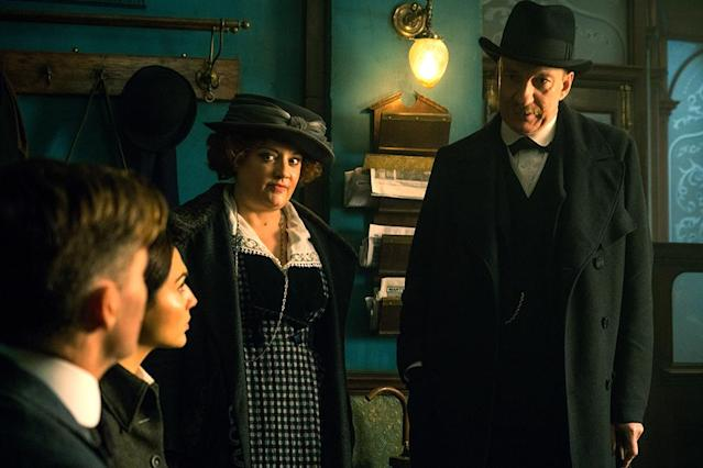 <p>Steve, Diana, and Steve's secretery, Etta Candy (Lucy Davis), are confronted by Sir Patrick about their planned covert ops. He ultimately agrees to underwrite their expedition. (Photo: Warner Bros.) </p>