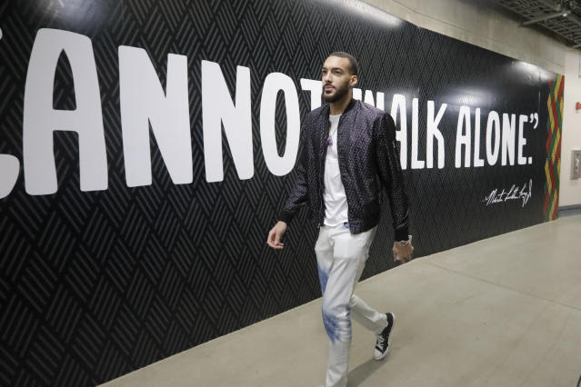 Rudy Gobert, who contracted COVID-19 back in March, says he still has not regained his sense of smell. (AP)
