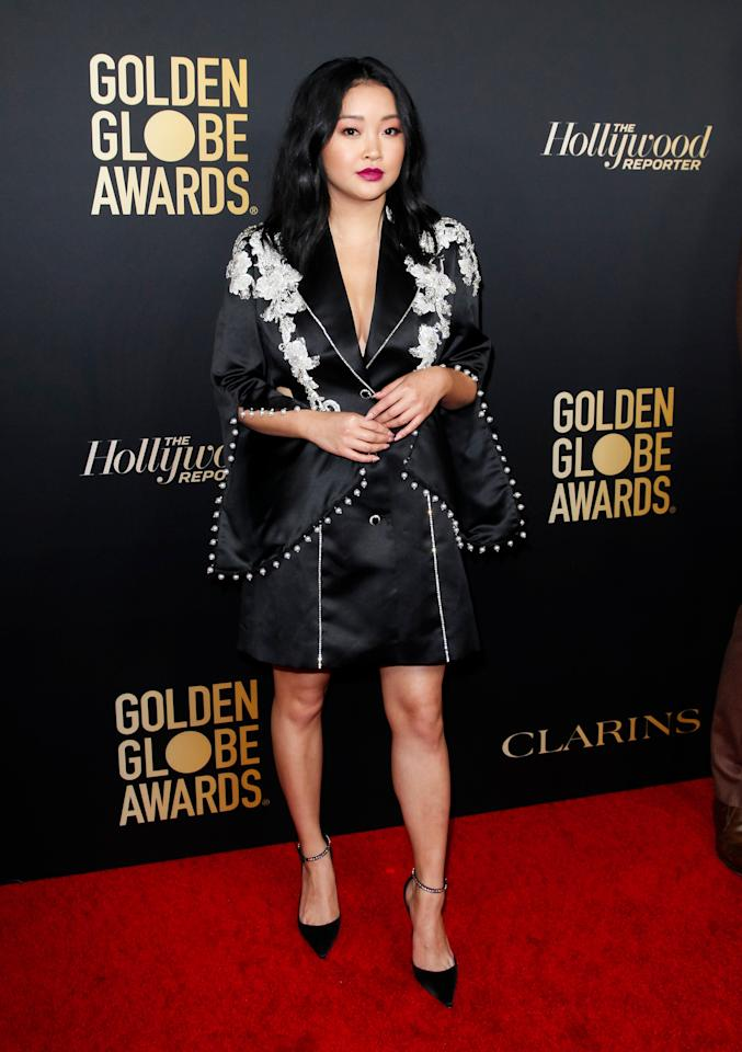 Lana's black and white outfit featured flowers, rivets, and a coordinating dark lip color.