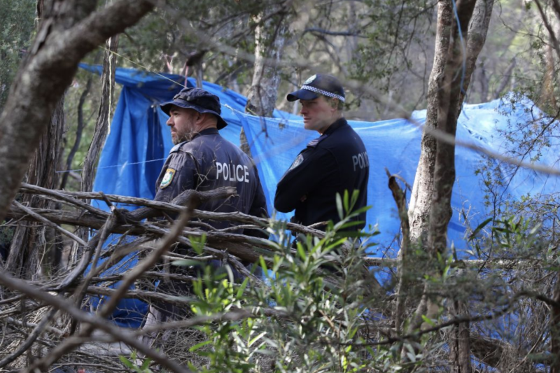 Photo of police searching bushland in Byron Bay where they found human remains.