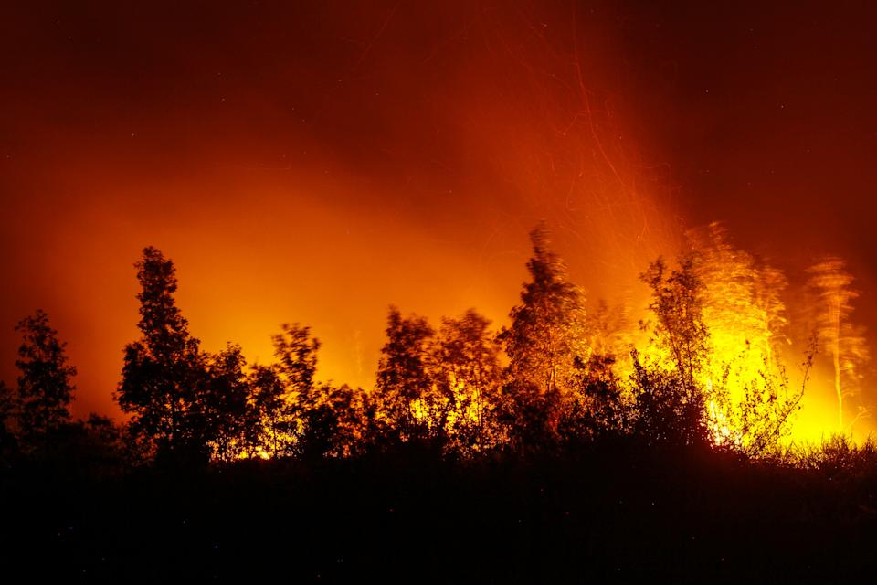 A view of forest fire at Soak Bato village on 9 September, 2019, in Ogan ilir regency, South Sumatra province, Indonesia. (PHOTO: Barcroft Media via Getty Images)