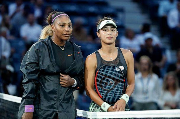 PHOTO:Qiang Wang, right, poses for a photo with Serena Williams before the women's singles quarterfinal match at the 2019 US Open in New York, Sept. 3, 2019. (Li Muzi/Xinhua/Newscom)