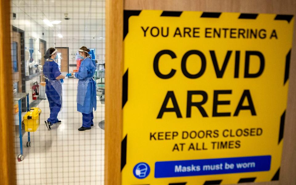 The entrance to one of five Covid-19 wards at Whiston Hospital in Merseyside - Peter Byrne/PA Wire