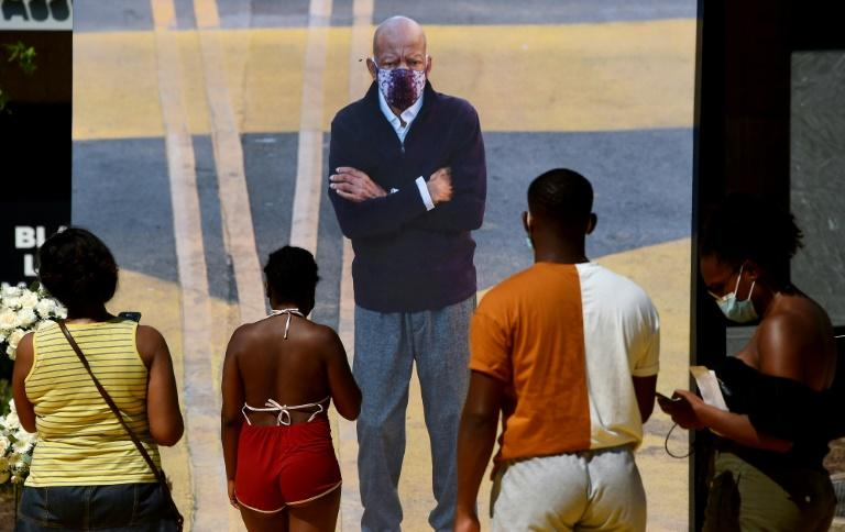 A mural of civil rights leader John Lewis at Black Lives Matter Plaza in Washington (AFP Photo/Olivier DOULIERY)