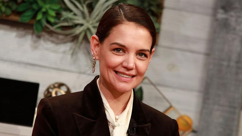 Katie Holmes has spoken about becoming an unintentional style icon, pictured here in New York in February 2020. (Getty Images)