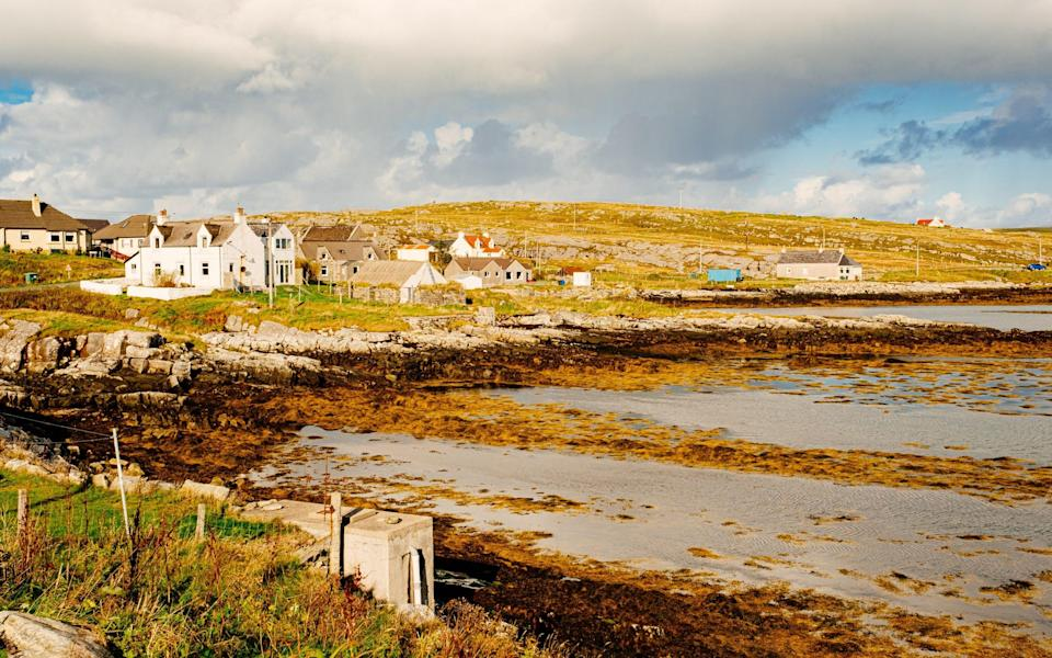 The largest village on the island of Berneray, linked to North Uist, part of the Outer Hebrides of Scotland - lucentius/iStockphoto