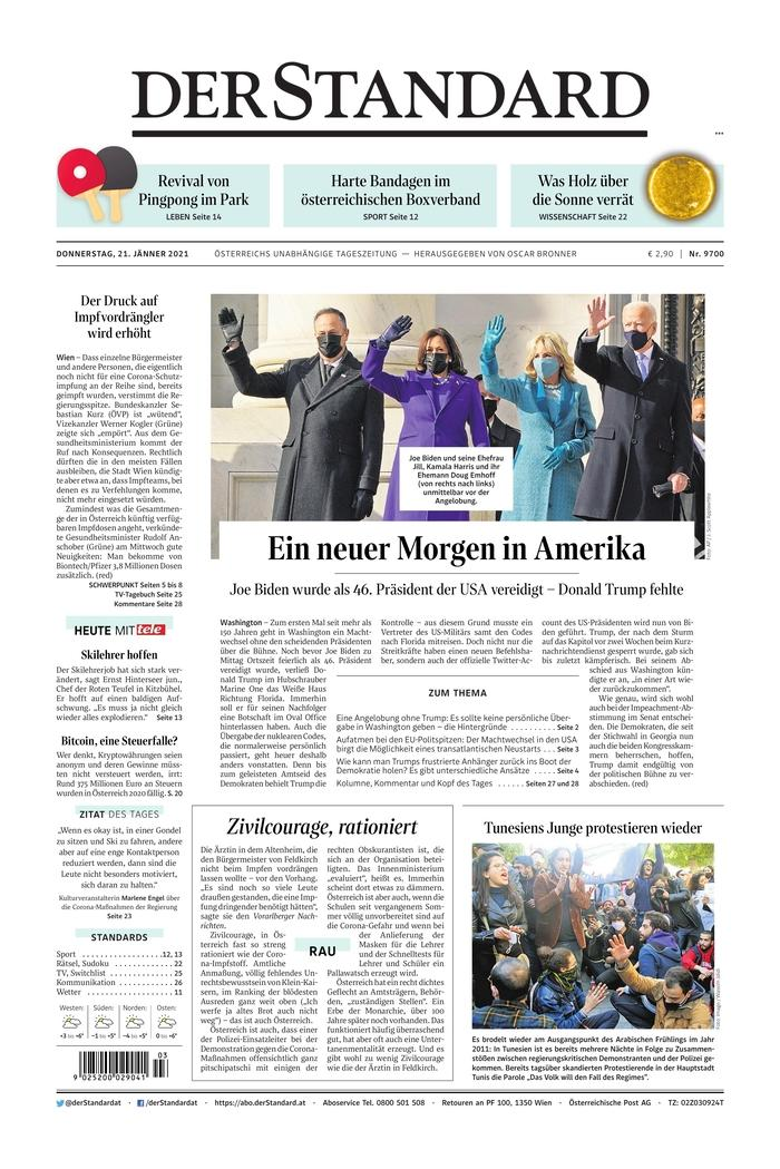 January 21, 2021 front page of Der Standard
