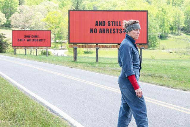 Frances McDormand in <em>Three Billboards Outside Ebbing, Missouri</em> (Photo: Fox Searchlight Pictures c/o Everett Collection)