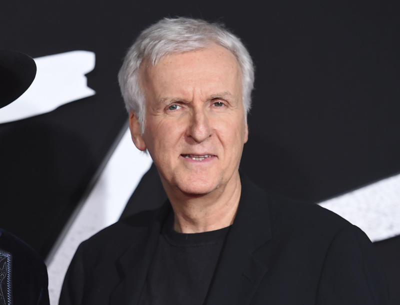 "FILE - This Feb. 5, 2019 file photo shows producer James Cameron arrive at the Los Angeles premiere of ""Alita: Battle Angel."" Cameron has no bad blood with the Avengers, even though ""Endgame"" has eclipsed ""Titanic's"" worldwide record and bumped the 1997 blockbuster to third place. He tweeted a note Wednesday to Marvel president Kevin Feige and its employees congratulating the company for its success. Cameron writes that an iceberg sank the real Titanic, but it took the Avengers to sink his Titanic.(Photo by Jordan Strauss/Invision/AP, File)"