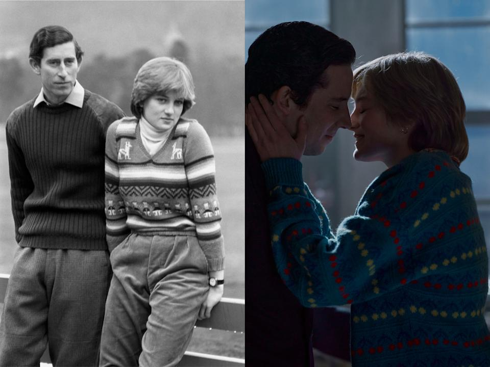 (L) Charles and Diana pictured before their wedding in 1981 and (R) in the early days of their relationship on The Crown