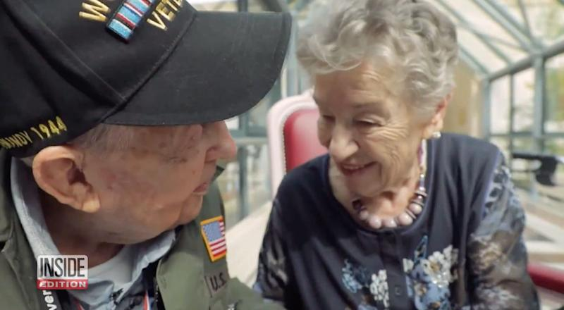 KT Robbins (left) and Jeannine Pierson were reunited after 75 years apart. (Photo: Inside Edition)