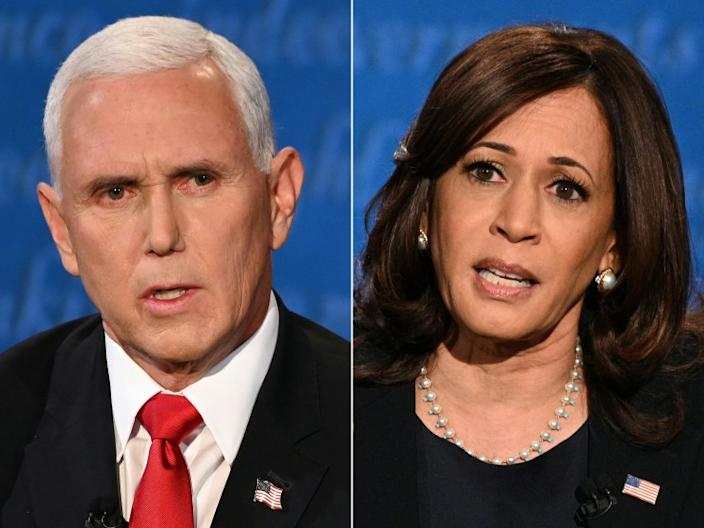 (COMBO) This combination of pictures created on October 07, 2020 shows US Vice President Mike Pence and US Democratic vice presidential nominee and Senator from California Kamala Harris during the vice presidential debate in Kingsbury Hall at the University of Utah on October 7, 2020 in Salt Lake City, Utah. (Photos by Eric BARADAT and Robyn Beck / AFP) (Photo by ERIC BARADAT,ROBYN BECK/AFP via Getty Images)