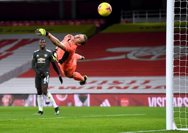 Arsenal goalkeeper Bernd Leno makes a save during 0-0 draw with Manchester United at the Emirates Stadium