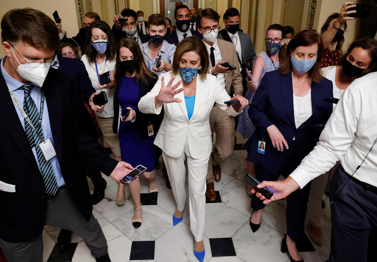 U.S. House Speaker Nancy Pelosi leaves a meeting with fellow House Democrats Monday at the U.S. Capitol.