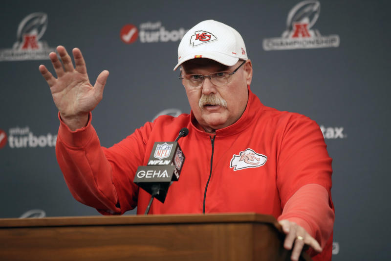 Kansas City Chiefs coach Andy Reid talks during a news conference for this weeks AFC conference championship NFL football game at Arrowhead Stadium in Kansas City, Mo., Wednesday, Jan. 15, 2020. (AP Photo/Orlin Wagner)