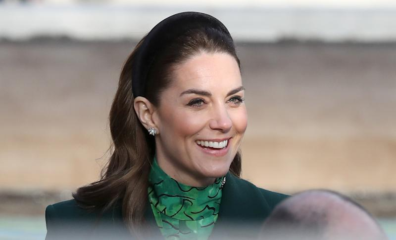 The Duchess of Cambridge wearing a velvet headband during day one of their visit to Ireland. (Getty Images)