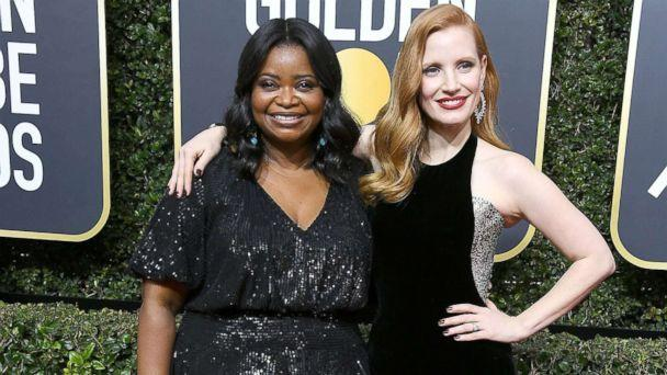 PHOTO: Jessica Chastain and Octavia Spencer arrive at the 75th annual Golden Globe Awards at the Beverly Hilton Hotel, Jan. 7, 2018, in Beverly Hills, Calif. (Steve Granitz/WireImage/Getty Images)