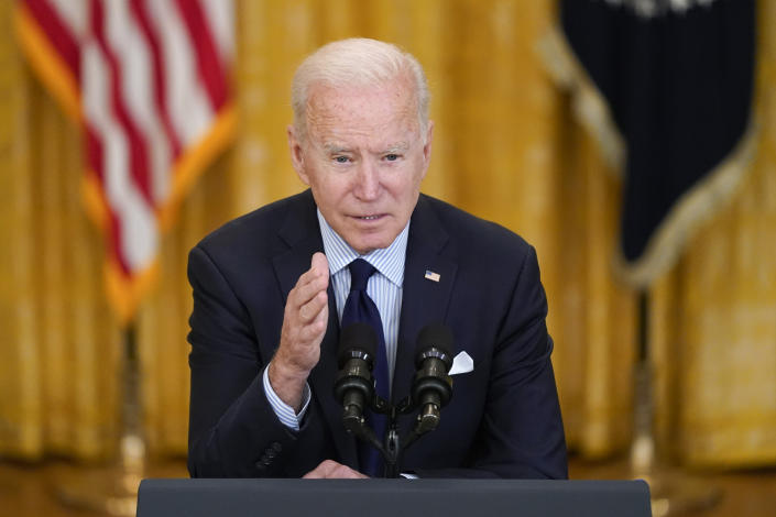 President Joe Biden speaks about the April jobs report in the East Room of the White House, Friday, May 7, 2021, in Washington. (Patrick Semansky/AP)