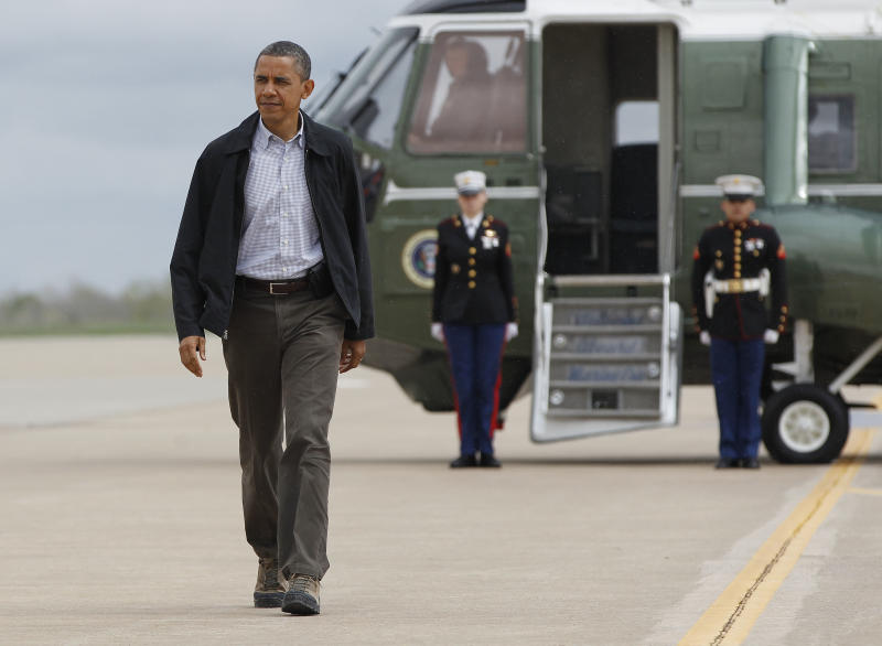 President Barack Obama walks to Air Force One before his departure from Tinker Air Force Base in Oklahoma City, Okla., Thursday, March, 22, 2012. (AP Photo/Pablo Martinez Monsivais)