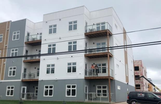 The first building in the Ironwood Estates complex will be ready Aug. 1. (Nicola MacLeod/CBC - image credit)