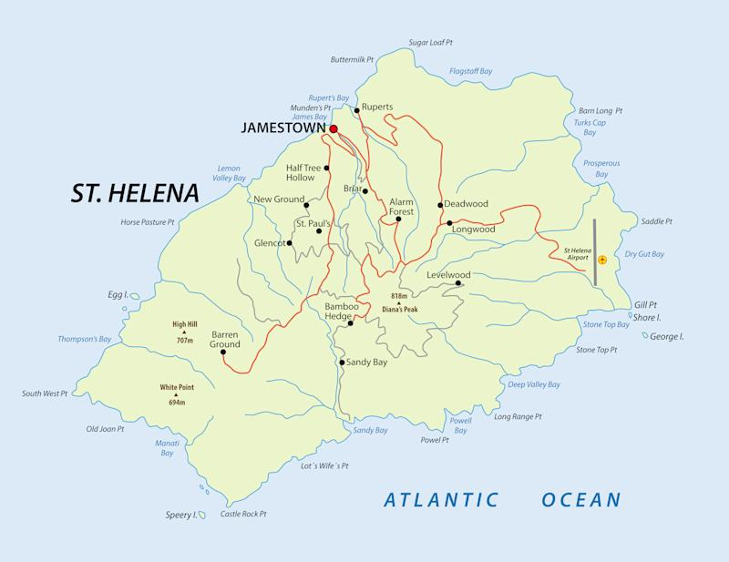 Map of british island St Helena in the Atlantic Ocean