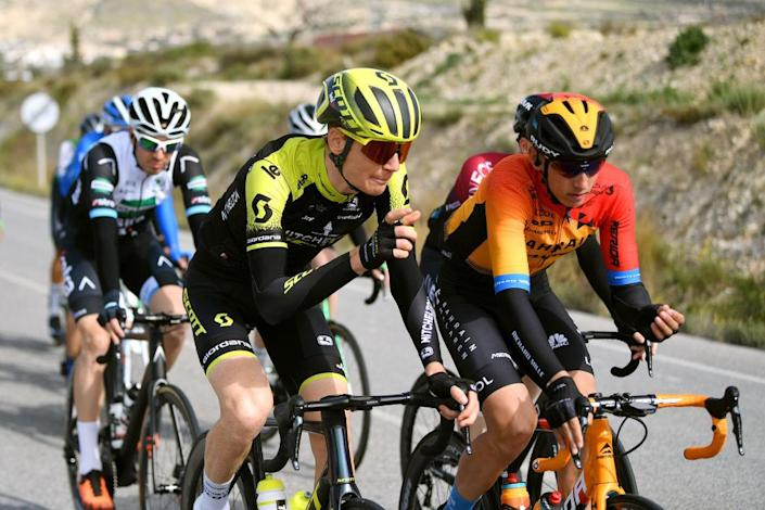 TORREVIEJA SPAIN  FEBRUARY 07 Jack Haig of Australia and Team MitcheltonScott  Dylan Teuns of Belgium and Team BahrainMclaren  during the 71st Volta a la Comunitat Valenciana 2020 Stage 3 a 1746km stage from Orihuela to Torrevieja  VueltaCV  VCV2020  on February 07 2020 in Torrevieja Spain Photo by David RamosGetty Images