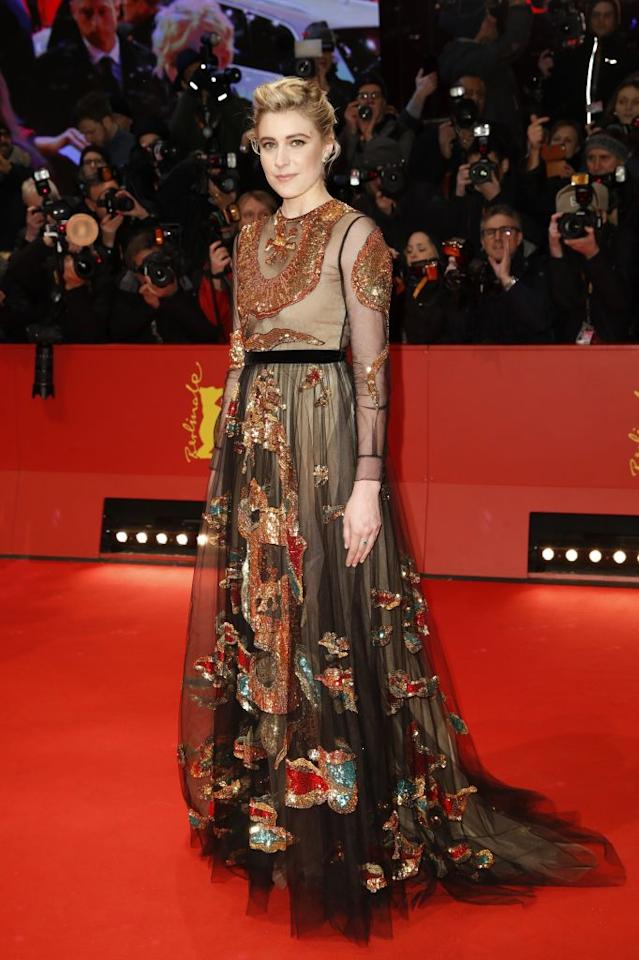 <p>The sheer trend is far from over, as Greta Gerwig proved on the red carpet at the Berlin Film Festival in a floral-emblazoned Valentino dress. She accessorised the look with jewellery by Ara Vartanian. <em>[Photo: Getty]</em> </p>