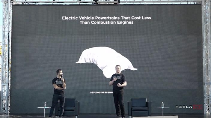 "Elon Musk announces a future $25,000 EV at Tesla's Sept. 22 ""Battery Day"" event. <p class=""copyright""><a href=""https://www.youtube.com/watch?v=l6T9xIeZTds&feature=emb_logo&ab_channel=Tesla"" rel=""nofollow noopener"" target=""_blank"" data-ylk=""slk:Tesla on YouTube"" class=""link rapid-noclick-resp"">Tesla on YouTube</a></p>"