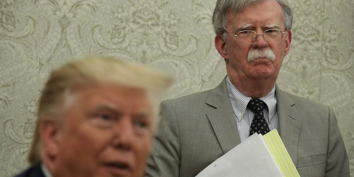 President Donald Trump and John Bolton, the national security adviser, in the Oval Office on August 20, 2019.