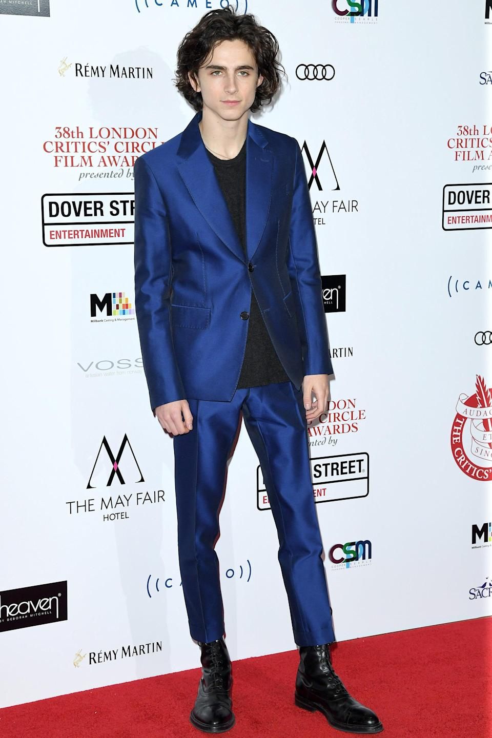 "<h2>Berluti</h2>Timothée Chalamet lookin' fine in Berluti blue. <span class=""copyright"">Photo: Karwai Tang/WireImage.</span>"