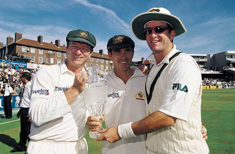Justin Langer with Waugh brothers.