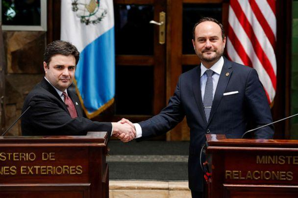 PHOTO: President Joe Biden's special envoy for the Northern Triangle Ricardo Zuniga shakes hands with Guatemalan Foreign Minister Pedro Brolo as they hold a news conference, during a two-day visit to the country, in Guatemala City, April 6, 2021. (Luis Echeverria/Reuters)