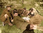 <p>Men of the 8th Battalion, King's Own Yorkshire Light Infantry playing cards near Ypres, 1st October 1917. (Tom Marshall/mediadrumworld.com) </p>