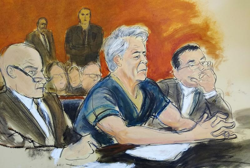 In this courtroom artist's sketch, Jeffrey Epstein (C) sits with attorneys Martin Weinberg, left, and Marc Fernich during his arraignment in New York federal court, July 8, 2019, on federal sex trafficking charges.