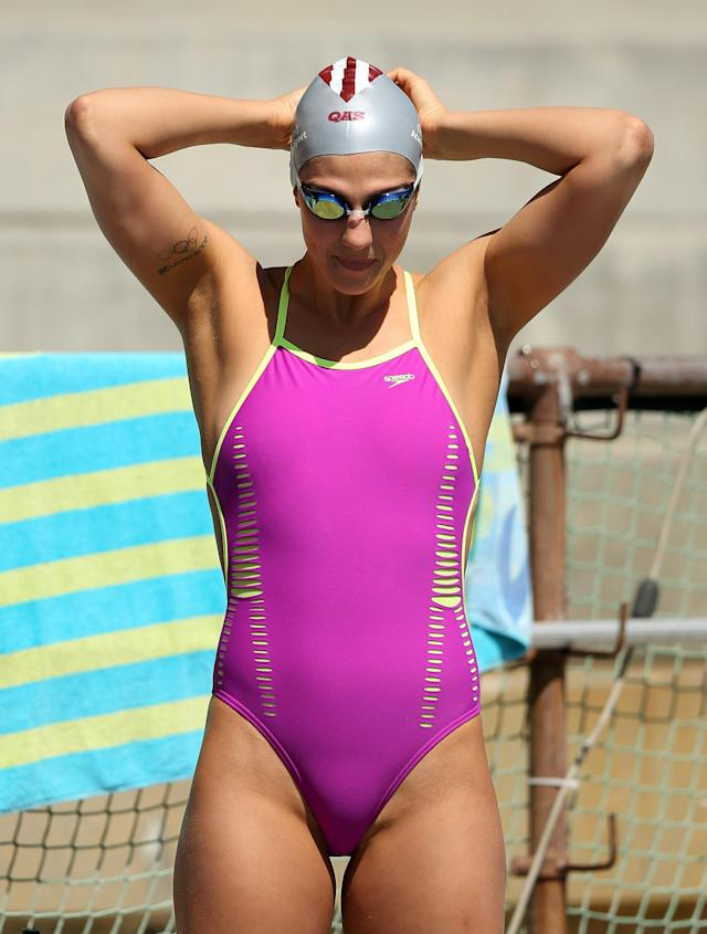 Stephanie Rice of Australia gets ready to swim in the warm up pool during day 2 of the Santa Clara International Grand Prix at George F. Haines International Swim Center on June 1, 2012 in Santa Clara, California. (Photo by Ezra Shaw/Getty Images)