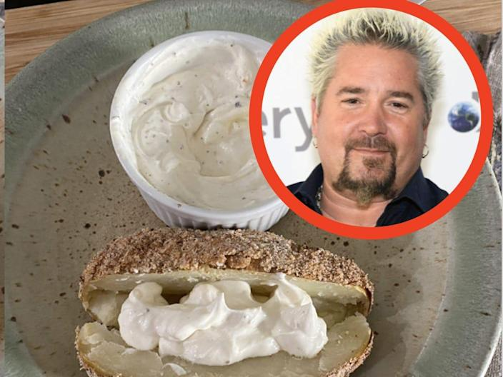 (Left) Photo of Inagaten on top of baked potatoes (Right) Photo of Gaifieri on top of baked potatoes