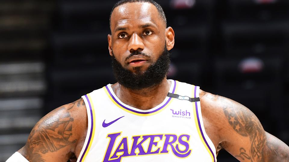 After the Lakers' sixth loss in their last seven NBA games, LeBron James criticised the league's newly introduced play-in tournament. (Photo by Adam Pantozzi/NBAE via Getty Images)