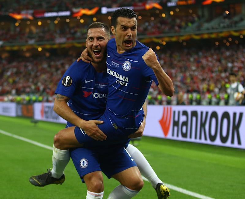 BAKU, AZERBAIJAN - MAY 29: Eden Hazard (10) celebrates with his team mate Pedro Rodriguez after scoring a goal during the UEFA Europa League final between Chelsea FC and Arsenal FC at the Olympic Stadium in Baku, Azerbaijan, on 29 May 2019. (Photo by Resul Rehimov/Anadolu Agency/Getty Images)