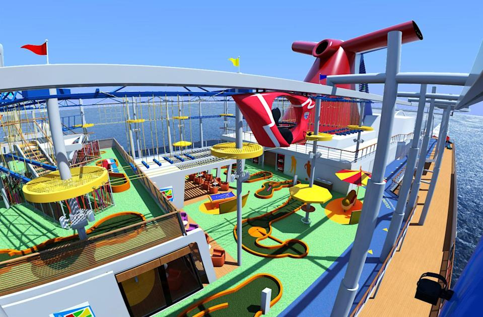 """<p>What's New: <a href=""""http://www.fodors.com/cruises/carnival-cruise-lines-676515"""" rel=""""nofollow noopener"""" target=""""_blank"""" data-ylk=""""slk:Carnival"""" class=""""link rapid-noclick-resp"""">Carnival</a>'s first new ship in four years, the 3,954-passenger Carnival Vista (the largest in its fleet) will operate the line's first European itineraries since 2013. On board, look for a slate of notable new features, including SkyRide, a suspended, pedal-powered outdoor cycling experience; the first IMAX theater on a cruise ship; a raft-riding water tube slide; a dedicated zone for family staterooms; Carnival's first-ever brewery (the RedFrog Pub); and more. Bonus: The ship's """"vista"""" namesake is reflected with ample ocean views at every turn. Its series of 10- to 13-night Mediterranean itineraries embark from Athens, Barcelona, or Trieste, Italy, and feature port calls to Italy, France, Spain, Croatia, Turkey, and beyond.</p><p>Set Sail: Mediterranean sailings run from May through October; rates from $819/person. The ship repositions to New York in November 2016, where it will sail 11-night itineraries to the Caribbean, before moving down to its new Miami homeport for a year-round schedule of 6- and 8-night Caribbean cruises. (Photo: Courtesy of Carnival)<br></p>"""