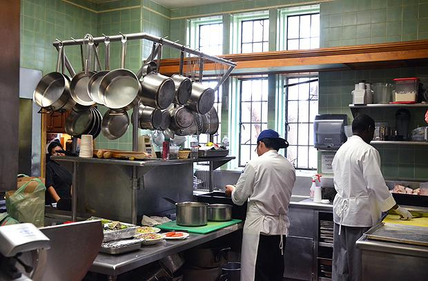 Inside the Playboy mansion's kitchen, which operates 24 hours a day (Kelly Senyei/Gourmet)