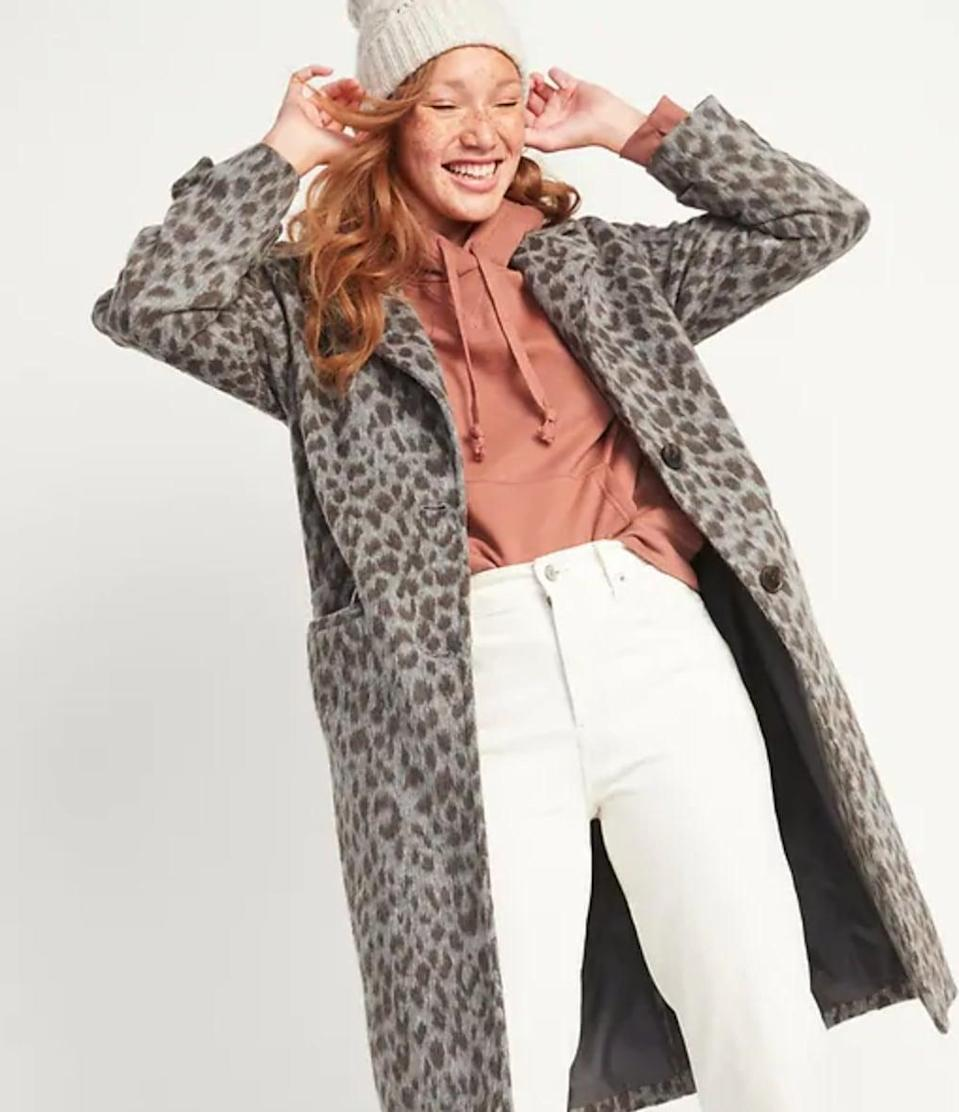 <p>We want to wear this <span>Oversized Soft-Brushed Leopard-Print Coat</span> ($80, originally $100) with a gray mock neck sweater and medium-rinse denim.</p>