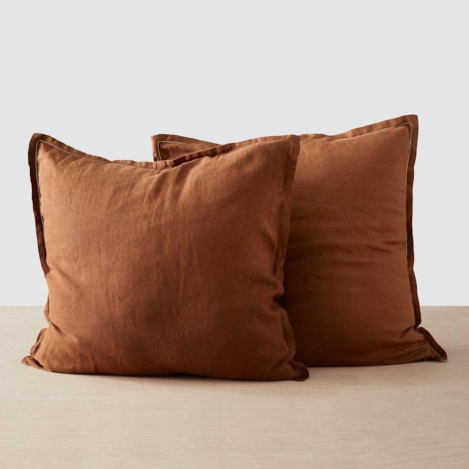 <p>I love having larger pillows on my bed, and these <span>The Citizenry Stonewashed Linen Euro Shams</span> ($65) are next on my wish list. This rustic orange shade is so chic, too.</p>