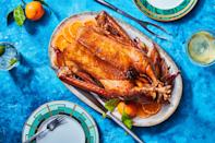 """If you really don't need a turkey, and you want to bump up the elegance factor of this year's Thanksgiving celebration, this recipe will walk you through the process of roasting a whole goose. <a href=""""https://www.epicurious.com/recipes/food/views/roast-goose-with-oranges-and-madeira-966?mbid=synd_yahoo_rss"""" rel=""""nofollow noopener"""" target=""""_blank"""" data-ylk=""""slk:See recipe."""" class=""""link rapid-noclick-resp"""">See recipe.</a>"""