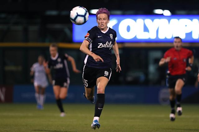 "Reign FC, which features USWNT star <a class=""link rapid-noclick-resp"" href=""/olympics/rio-2016/a/1124356/"" data-ylk=""slk:Megan Rapinoe"">Megan Rapinoe</a>, could soon be under the same ownership as European powerhouse Lyon. (Abbie Parr/Getty Images)"