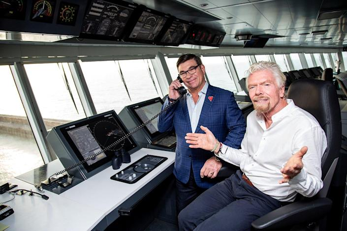 Richard Branson with Virgin Voyages CEO Tom McAlpin onboard the new Scarlet Lady Virgin Voyages cruise ship. 21 February 2020.